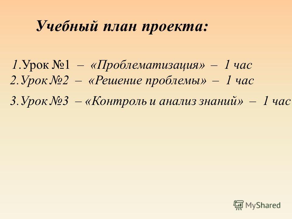 Учебный план проекта : 1. Урок 1 – « Проблематизация » – 1 час 2. Урок 2 – « Решение проблемы » – 1 час 3. Урок 3 – « Контроль и анализ знаний » – 1 час