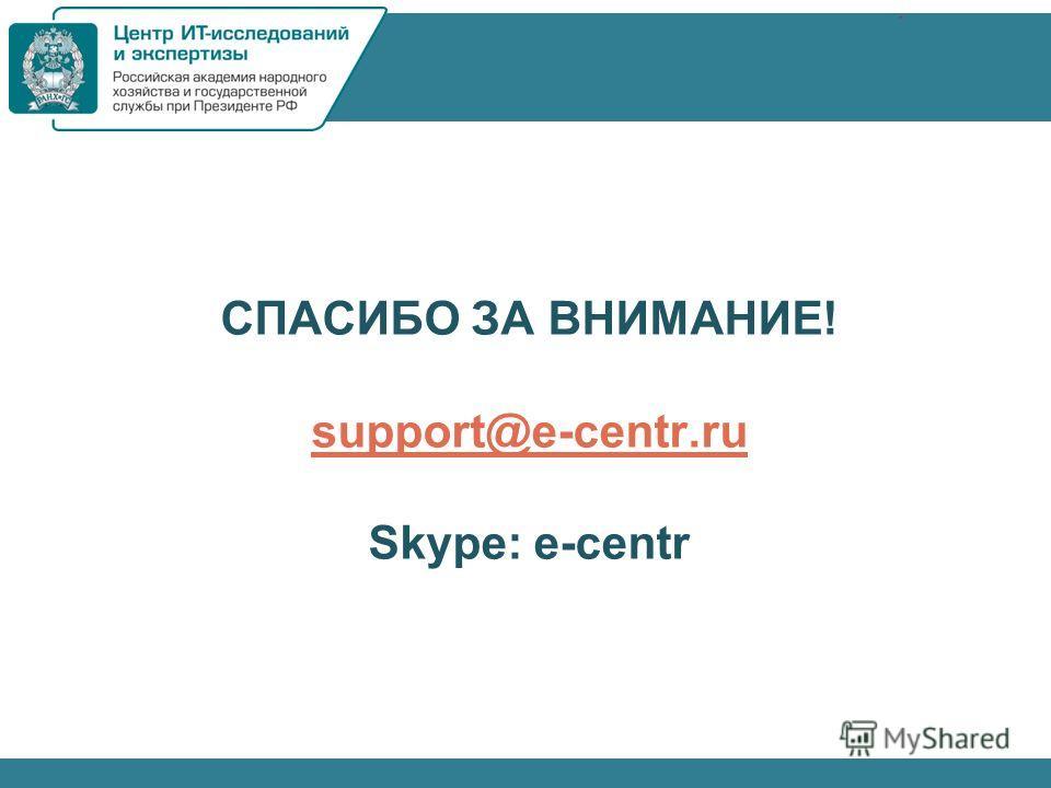 СПАСИБО ЗА ВНИМАНИЕ! support@e-centr.ru Skype: e-centr support@e-centr.ru