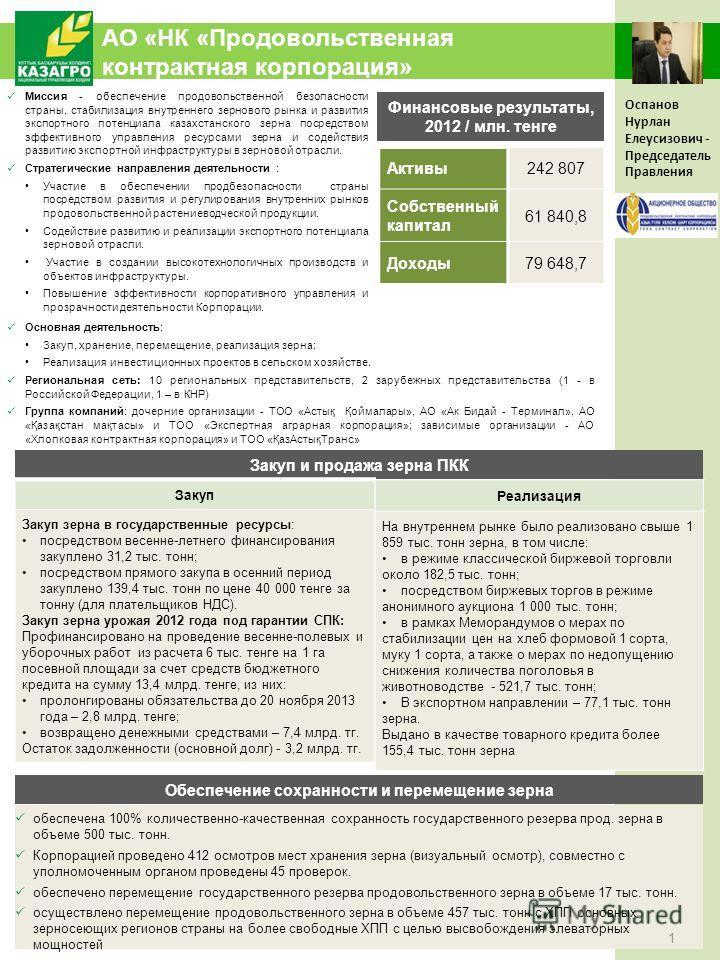 АО «НК «Продовольственная контрактная корпорация» Миссия - обеспечение продовольственной безопасности страны, стабилизация внутреннего зернового рынка и развития экспортного потенциала казахстанского зерна посредством эффективного управления ресурсам