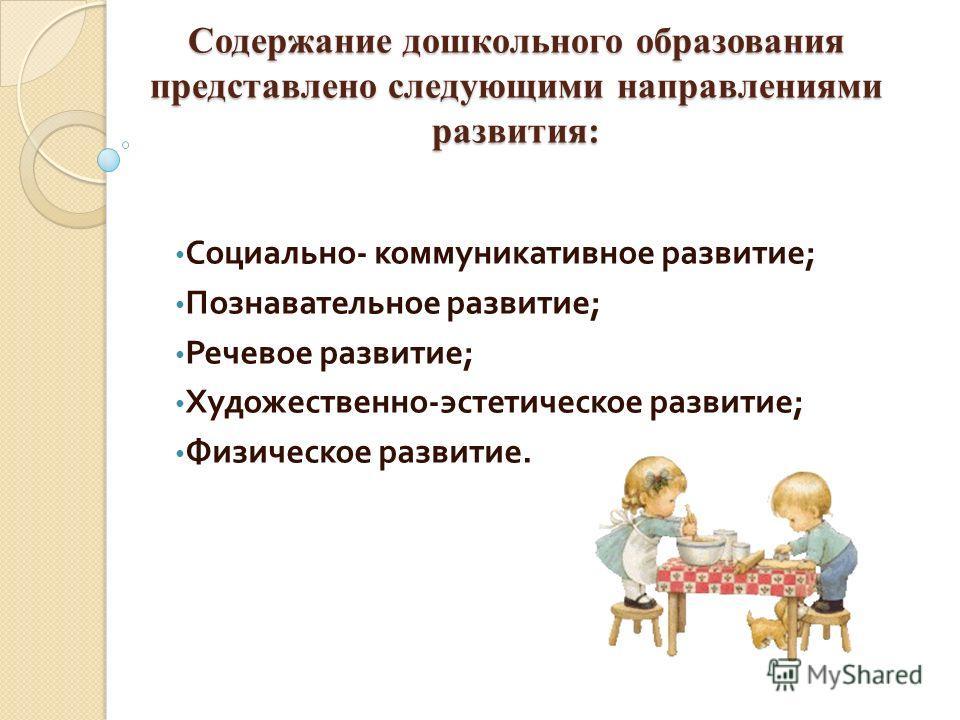 Содержание дошкольного образования представлено следующими направлениями развития: Социально - коммуникативное развитие ; Познавательное развитие ; Речевое развитие ; Художественно - эстетическое развитие ; Физическое развитие.