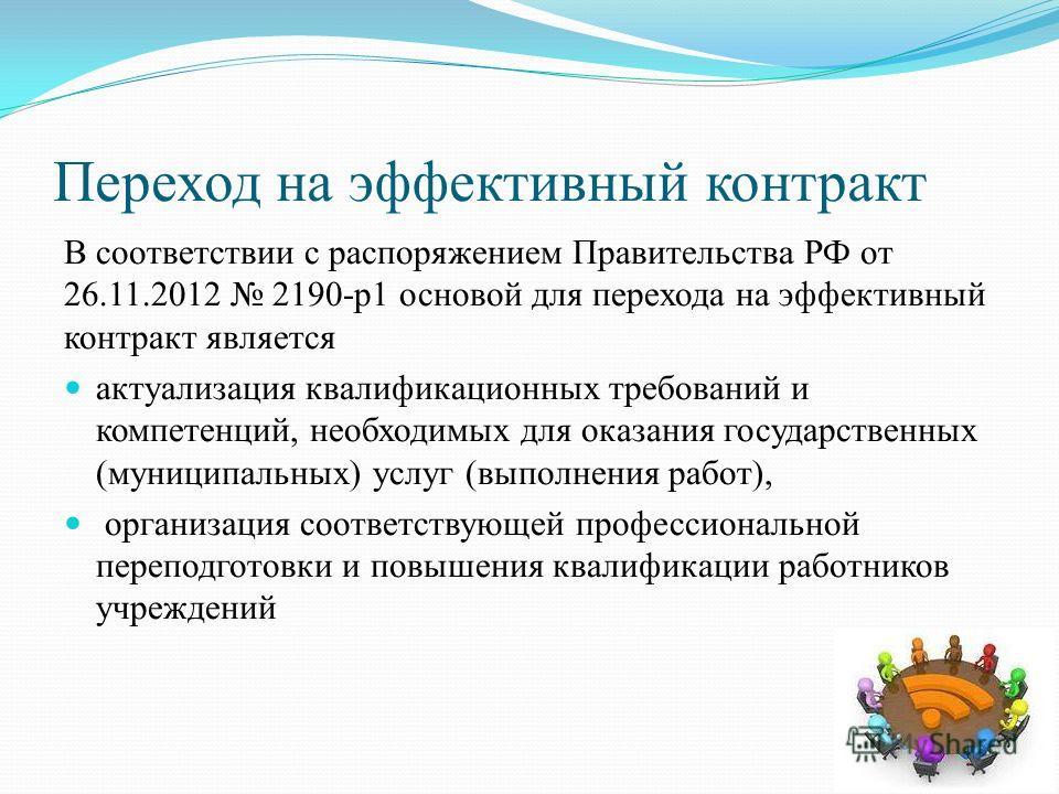 Переход на эффективный контракт В соответствии с распоряжением Правительства РФ от 26.11.2012 2190-р 1 основой для перехода на эффективный контракт является актуализация квалификационных требований и компетенций, необходимых для оказания государствен