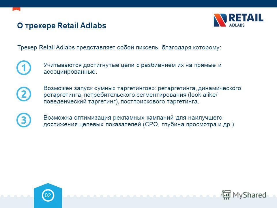 О трекере Retail Adlabs 02 Трекер Retail Adlabs представляет собой пиксель, благодаря которому: Учитываются достигнутые цели с разбиением их на прямые и ассоциированные. Возможен запуск «умных таргетингов»: ретаргетинга, динамического ретаргетинга, п