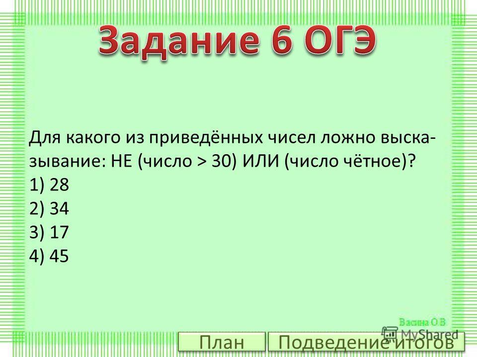 Для какого из приведённых чисел ложно выска зывание: НЕ (число > 30) ИЛИ (число чётное)? 1) 28 2) 34 3) 17 4) 45 Подведение итогов План