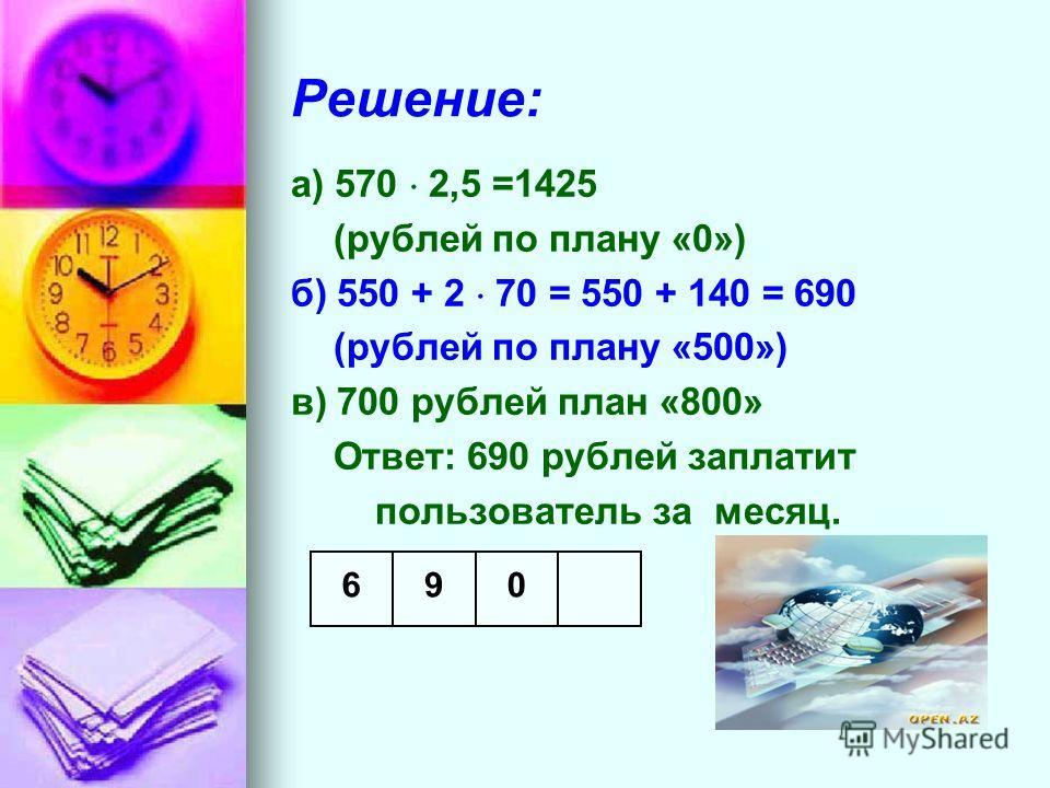 Решение: а) 570 2,5 =1425 (рублей по плану «0») б) 550 + 2 70 = 550 + 140 = 690 (рублей по плану «500») в) 700 рублей план «800» Ответ: 690 рублей заплатит пользователь за месяц. 096