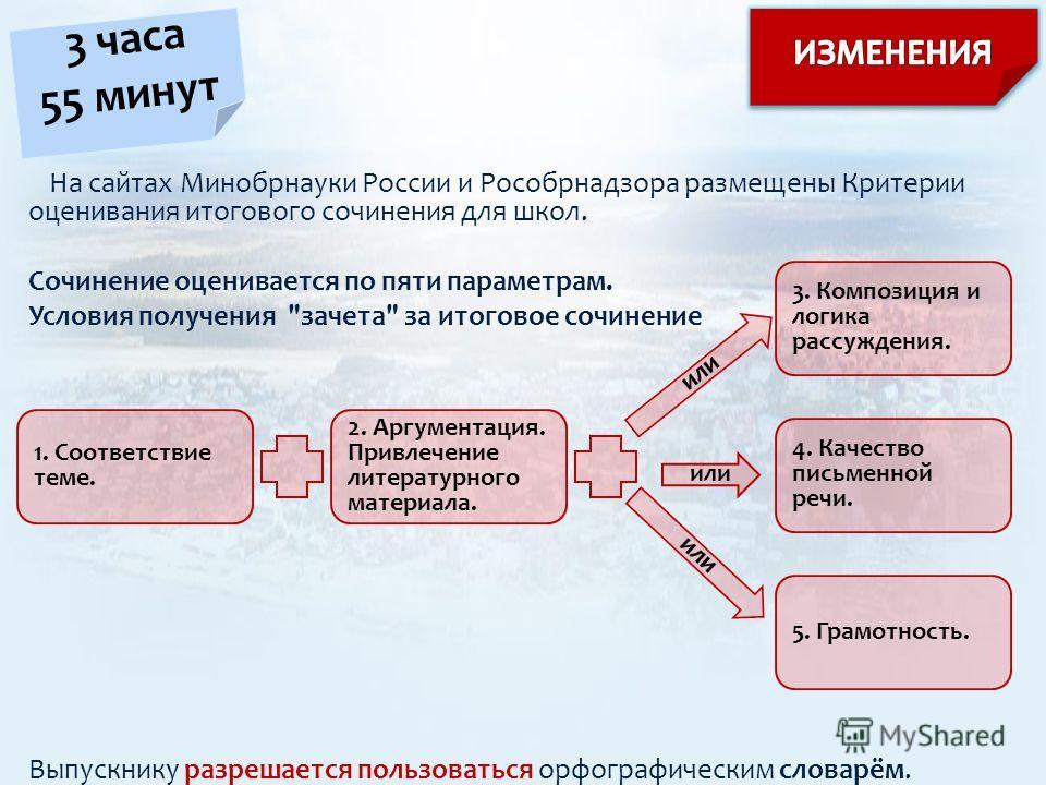 На сайтах Минобрнауки России и Рособрнадзора размещены Критерии оценивания итогового сочинения для школ. Сочинение оценивается по пяти параметрам. Условия получения