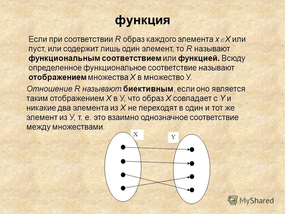 функция Если при соответствии R образ каждого элемента х X или пуст, или содержит лишь один элемент, то R называют функциональным соответствием или функцией. Всюду определенное функциональное соответствие называют отображением множества X в множество