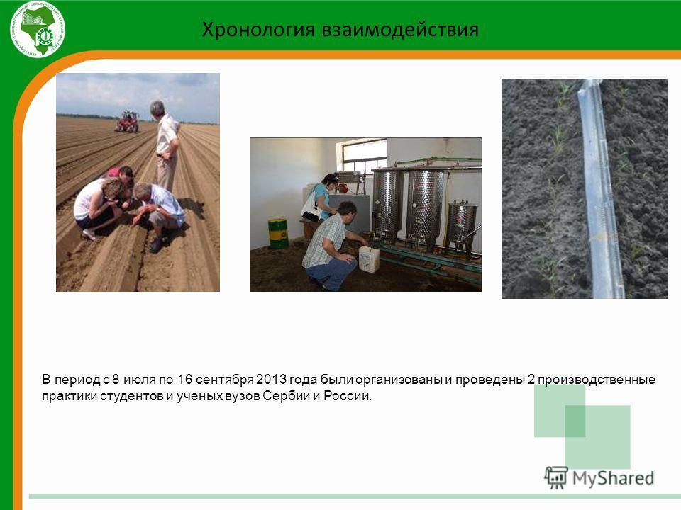 Хронология взаимодействия В период с 8 июля по 16 сентября 2013 года были организованы и проведены 2 производственные практики студентов и ученых вузов Сербии и России.