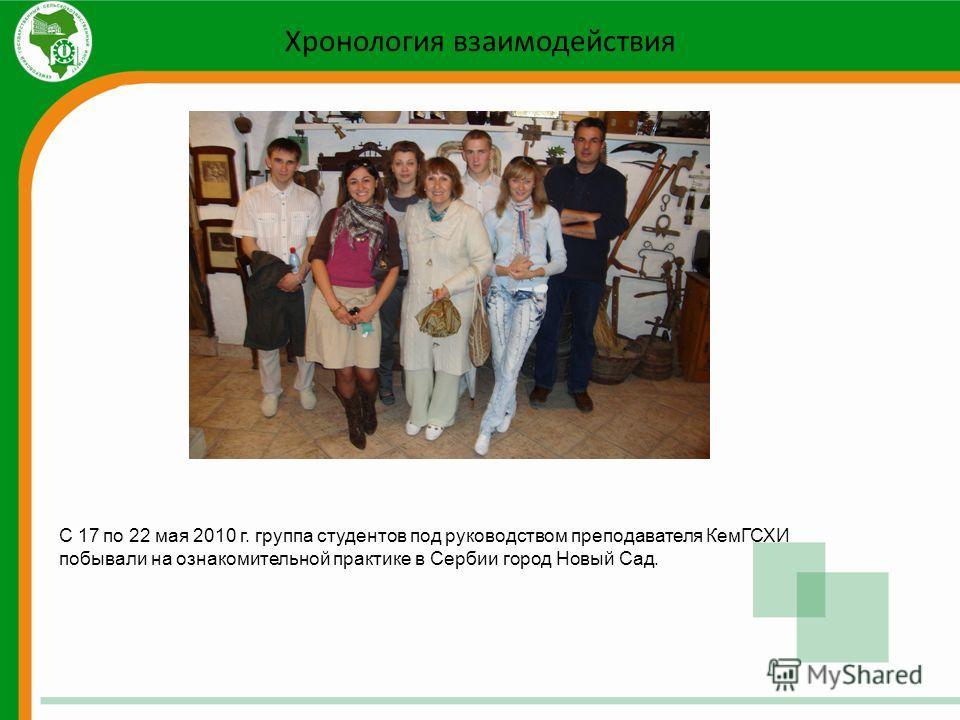 Хронология взаимодействия С 17 по 22 мая 2010 г. группа студентов под руководством преподавателя КемГСХИ побывали на ознакомительной практике в Сербии город Новый Сад.