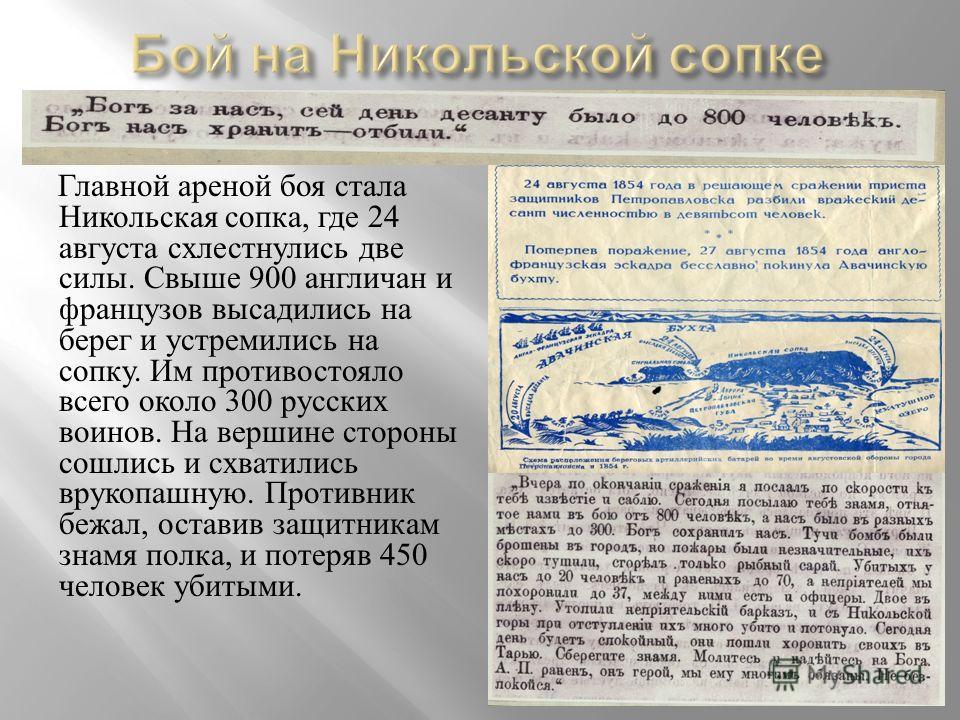 Главной ареной боя стала Никольская сопка, где 24 августа схлестнулись две силы. Свыше 900 англичан и французов высадились на берег и устремились на сопку. Им противостояло всего около 300 русских воинов. На вершине стороны сошлись и схватились вруко