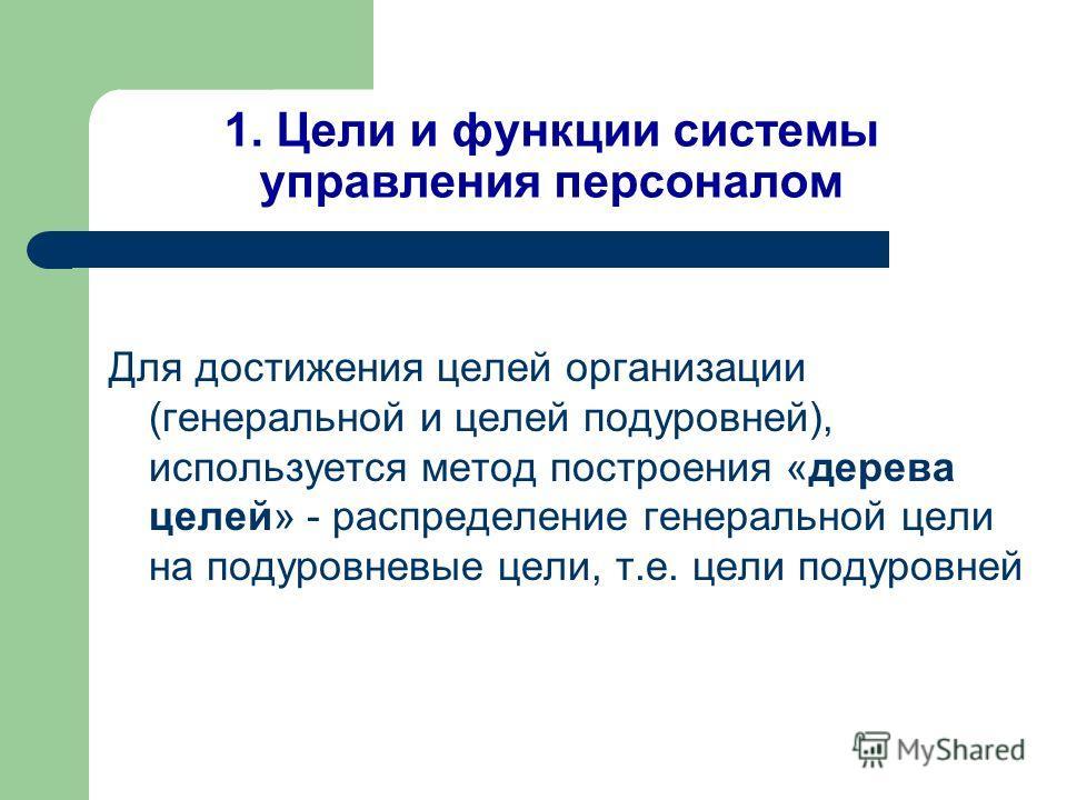 1. Цели и функции системы управления персоналом Для достижения целей организации (генеральной и целей подуровней), используется метод построения «дерева целей» - распределение генеральной цели на подуровневые цели, т.е. цели подуровней