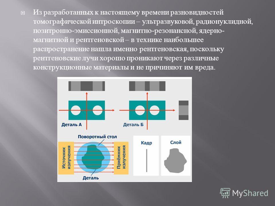 Из разработанных к настоящему времени разновидностей томографической интроскопии – ультразвуковой, радионуклидной, позитронно - эмиссионной, магнитно - резонансной, ядерно - магнитной и рентгеновской – в технике наибольшее распространение нашла именн
