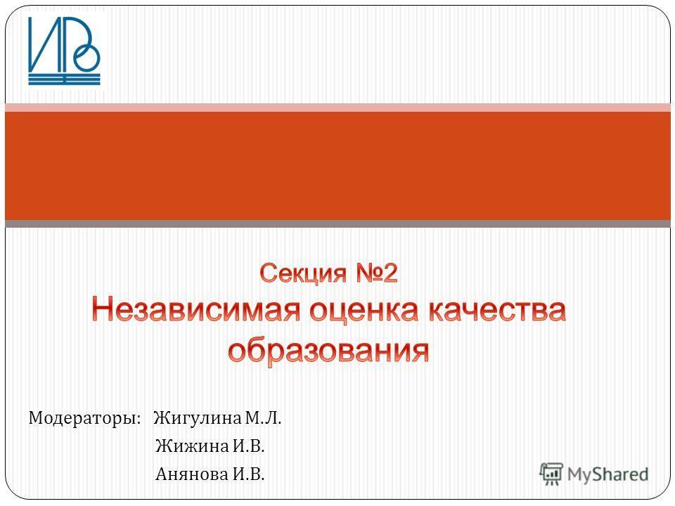 Модераторы : Жигулина М. Л. Жижина И. В. Анянова И. В.