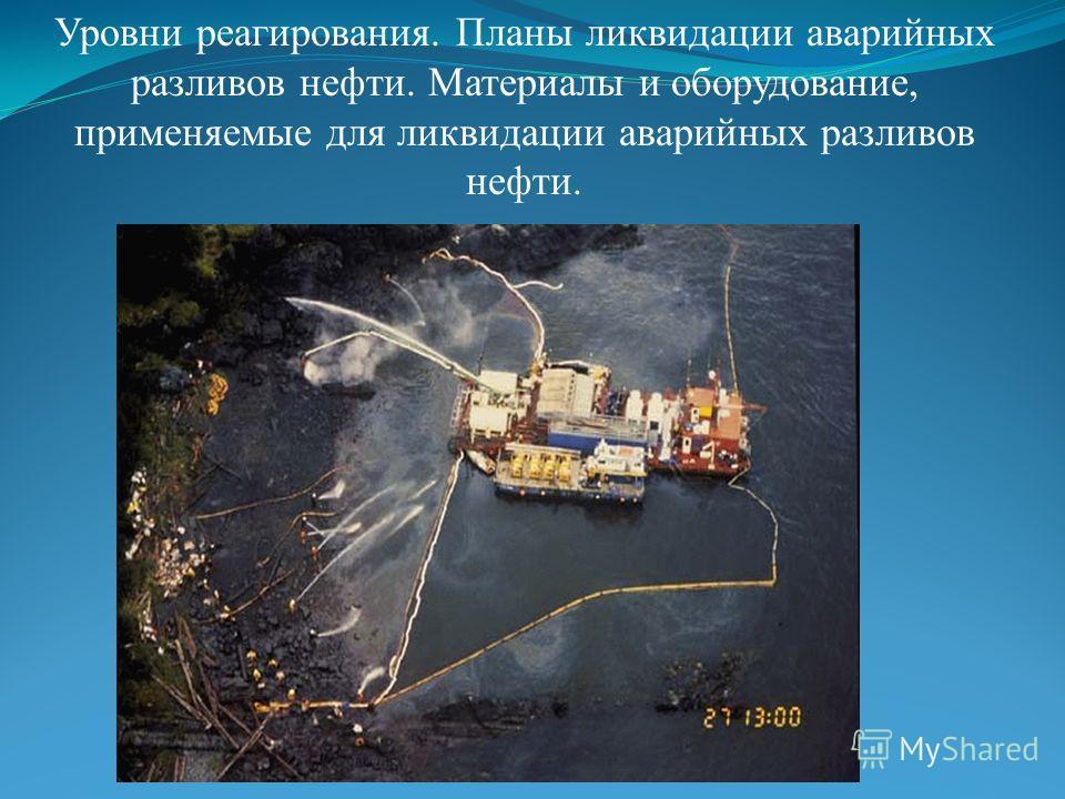 Уровни реагирования. Планы ликвидации аварийных разливов нефти. Материалы и оборудование, применяемые для ликвидации аварийных разливов нефти.