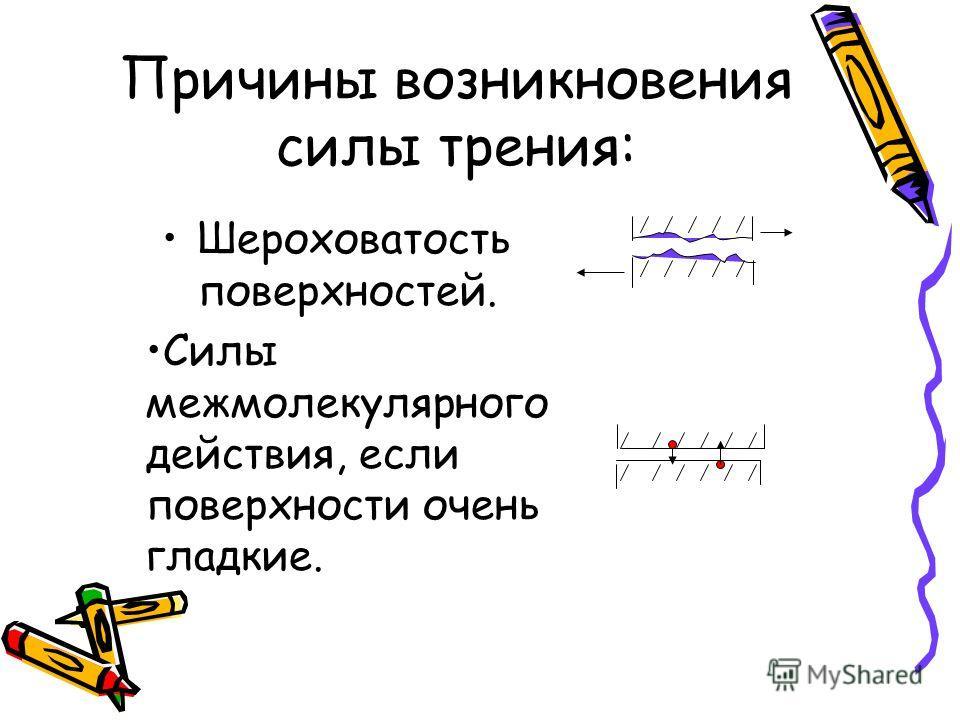Причины возникновения силы трения: Шероховатость поверхностей. Силы межмолекулярного действия, если поверхности очень гладкие.