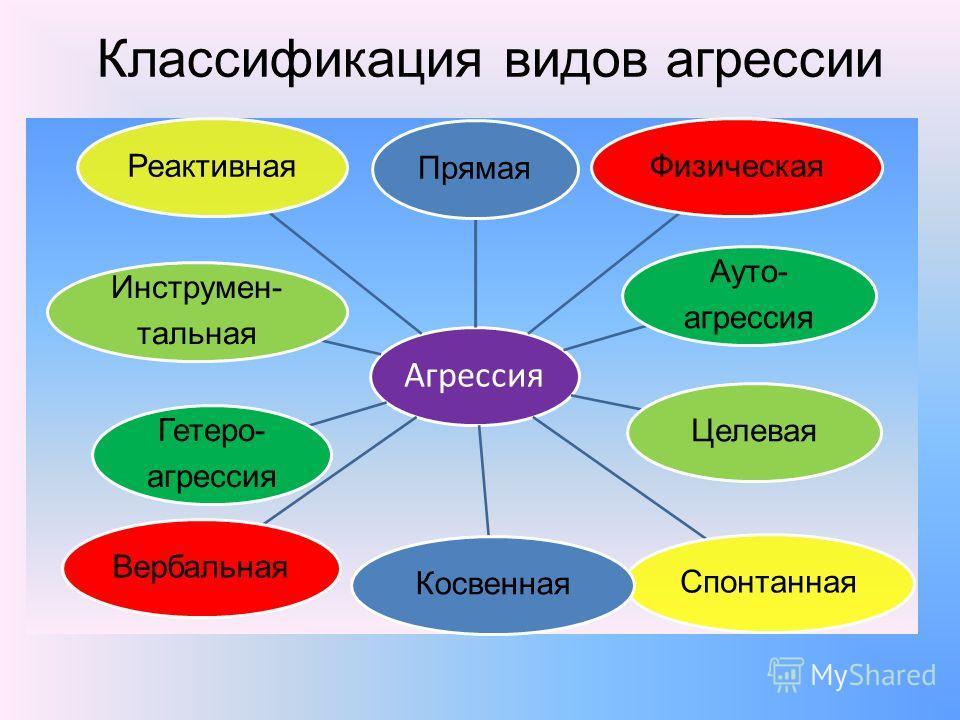 Классификация видов агрессии Агрессия Прямая Ауто- агрессия Физическая ЦелеваяСпонтанная Косвенная Гетеро- агрессия Вербальная Инструмен- тальная Реактивная