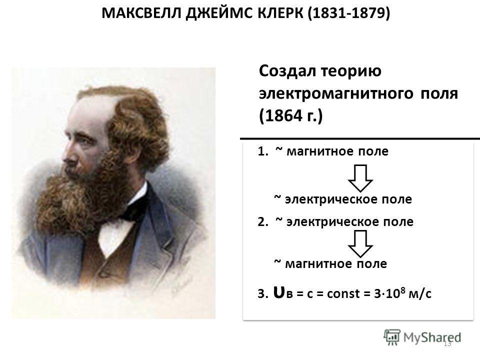 МАКСВЕЛЛ ДЖЕЙМС КЛЕРК (1831-1879) 13 Создал теорию электромагнитного поля (1864 г.) 1. ~ магнитное поле ~ электрическое поле 2. ~ электрическое поле ~ магнитное поле 3. υ в = с = сonst = 310 8 м/с 1. ~ магнитное поле ~ электрическое поле 2. ~ электри