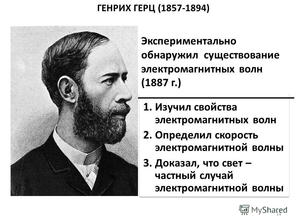 ГЕНРИХ ГЕРЦ (1857-1894) 1. Изучил свойства электромагнитных волн 2. Определил скорость электромагнитной волны 3. Доказал, что свет – частный случай электромагнитной волны 1. Изучил свойства электромагнитных волн 2. Определил скорость электромагнитной