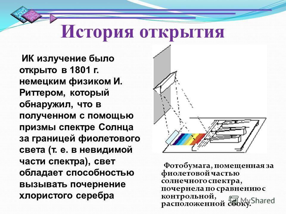 История открытия Фотобумага, помещенная за фиолетовой частью солнечного спектра, почернела по сравнению с контрольной, расположенной сбоку. ИК излучение было открыто в 1801 г. немецким физиком И. Риттером, который обнаружил, что в полученном с помощь