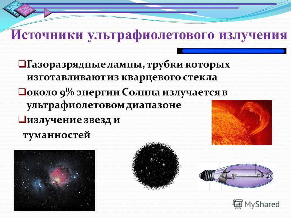 Источники ультрафиолетового излучения Газоразрядные лампы, трубки которых изготавливают из кварцевого стекла около 9% энергии Солнца излучается в ультрафиолетовом диапазоне излучение звезд и туманностей