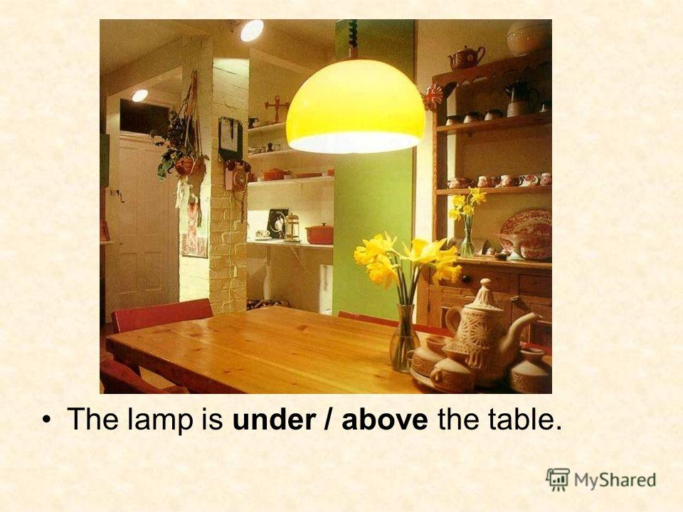 The lamp is under / above the table.