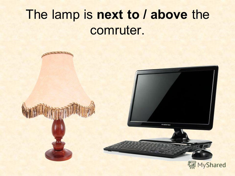The lamp is next to / above the comruter.