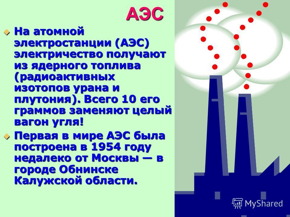 АЭС На атомной электростанции (АЭС) электричество получают из ядерного топлива (радиоактивных изотопов урана и плутония). Всего 10 его граммов заменяют целый вагон угля! На атомной электростанции (АЭС) электричество получают из ядерного топлива (ради