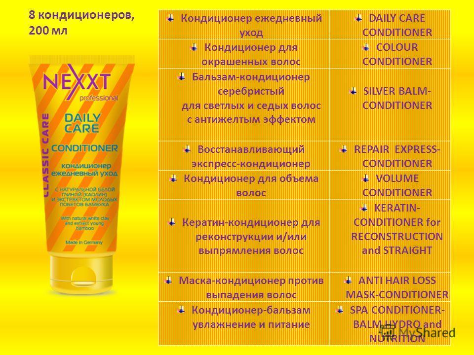 8 шампуней, 1000 мл Шампунь ежедневный уходDAILY CARE SHAMPOO Шампунь для окрашенных волос COLOUR SHAMPOO Шампунь серебристый для светлых и осветленных волос, нейтрализует желтый нюанс SILVER SHAMPOO Экспресс-шампунь восстанавливающий REPAIR EXPRESS-