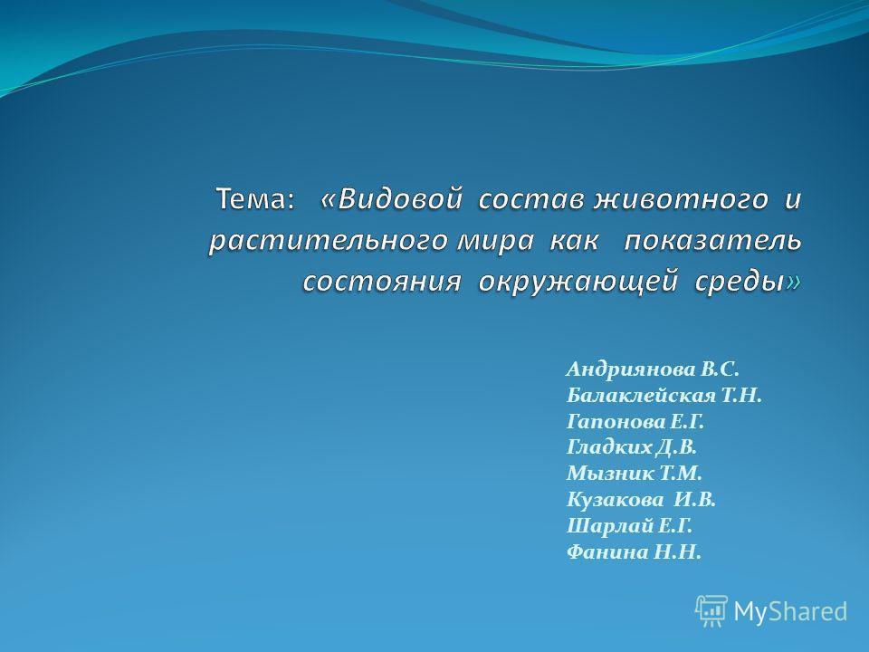 Андриянова В.С. Балаклейская Т.Н. Гапонова Е.Г. Гладких Д.В. Мызник Т.М. Кузакова И.В. Шарлай Е.Г. Фанина Н.Н.