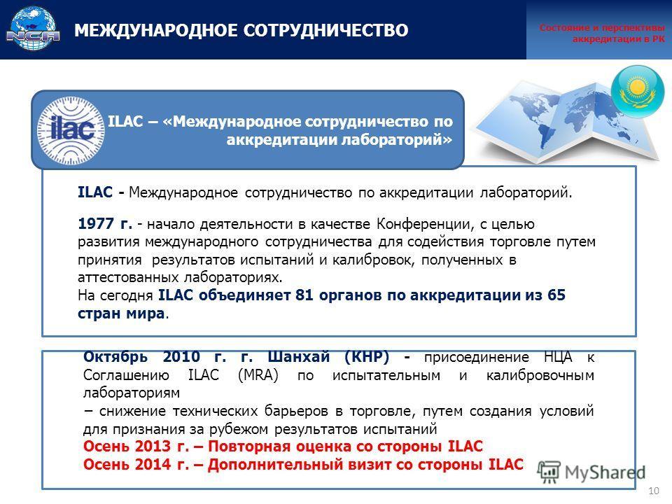 10 ILAC - Международное сотрудничество по аккредитации лабораторий. 1977 г. - начало деятельности в качестве Конференции, с целью развития международного сотрудничества для содействия торговле путем принятия результатов испытаний и калибровок, получе