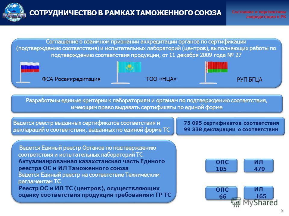 9 Соглашение о взаимном признании аккредитации органов по сертификации (подтверждению соответствия) и испытательных лабораторий (центров), выполняющих работы по подтверждению соответствия продукции, от 11 декабря 2009 года 27 ФСА РосаккредитацияТОО «