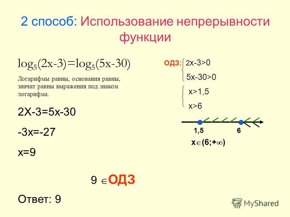 2 способ: Использование непрерывности функции log 5 (2x-3)=log 5 (5x-30) Логарифмы равны, основания равны, значит равны выражения под знаком логарифма. 2X-3=5x-30 -3x=-27 x=9 ОДЗ: 2 x-3>0 5x-30>0 x>1,5 x>6 1,56 x (6;+ ) 9 ОДЗ Ответ: 9