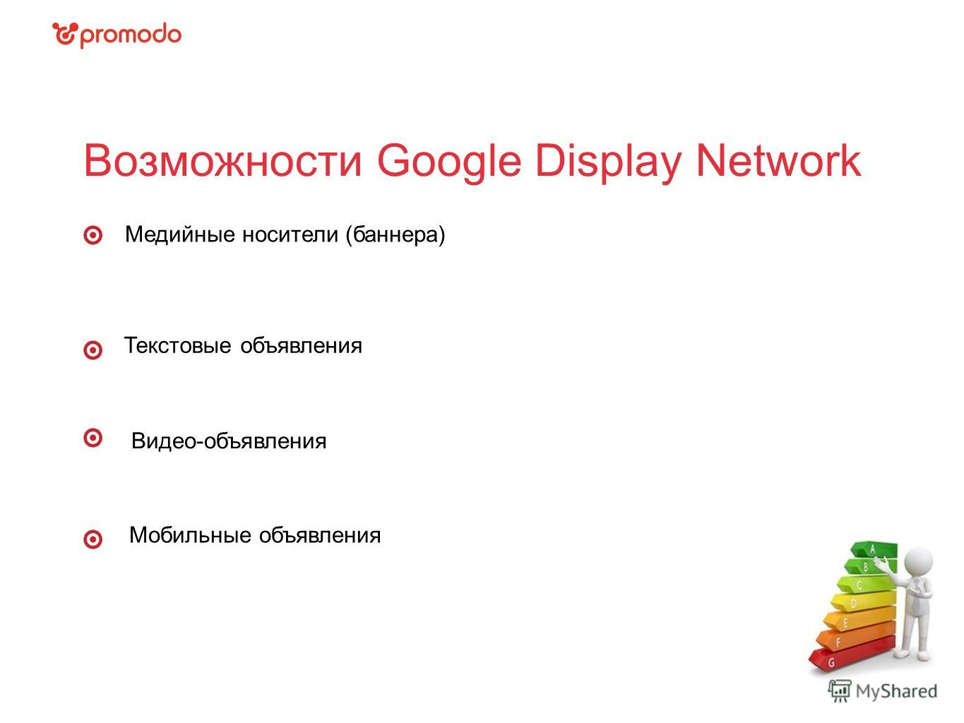 Возможности Google Display Network Медийные носители (баннера) Текстовые объявления Видео-объявления Мобильные объявления