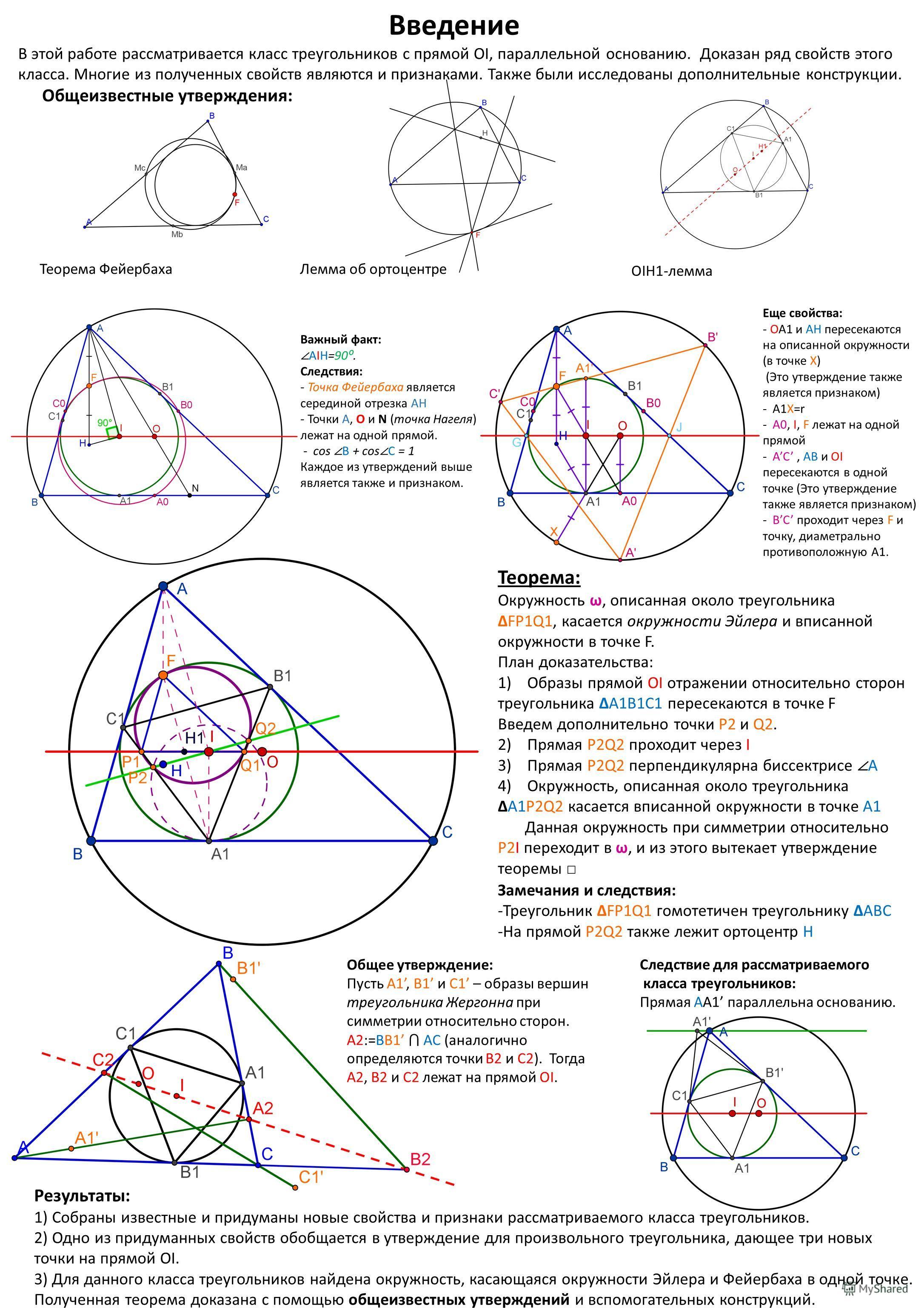 Введение В этой работе рассматривается класс треугольников с прямой OI, параллельной основанию. Доказан ряд свойств этого класса. Многие из полученных свойств являются и признаками. Также были исследованы дополнительные конструкции. Общеизвестные утв