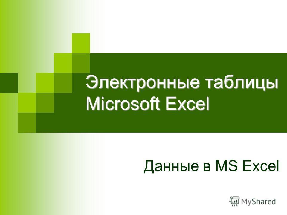 Электронные таблицы Microsoft Excel Данные в MS Excel