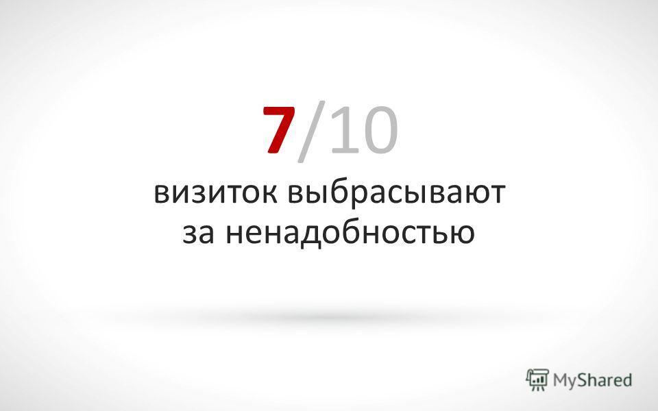 7/10 визиток выбрасывают за ненадобностью