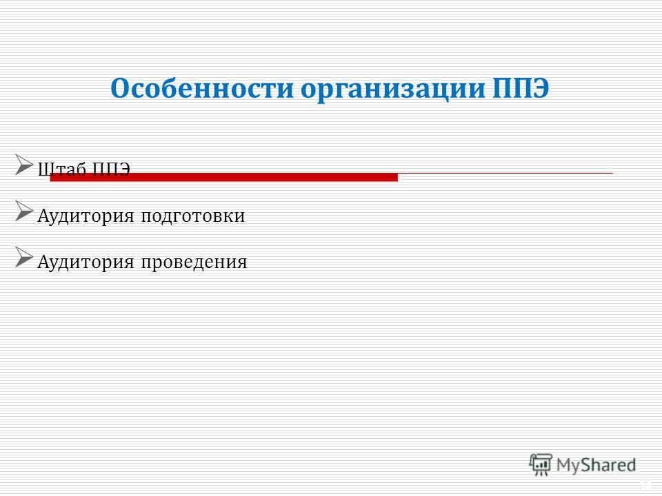 34 Особенности организации ППЭ Штаб ППЭ Аудитория подготовки Аудитория проведения