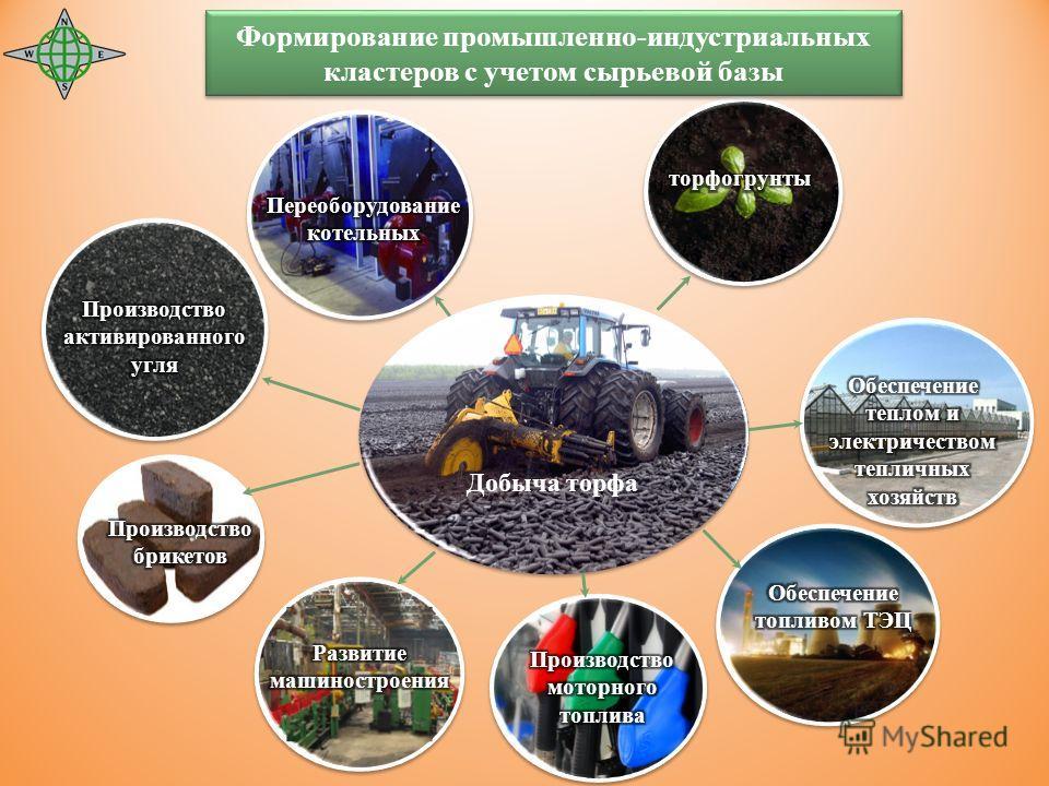 Добыча торфа Формирование промышленно-индустриальных кластеров с учетом сырьевой базы