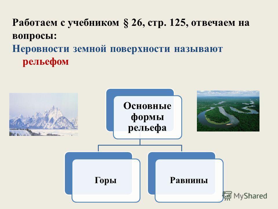 Работаем с учебником § 26, стр. 125, отвечаем на вопросы: Неровности земной поверхности называют рельефом Основные формы рельефа Горы Равнины