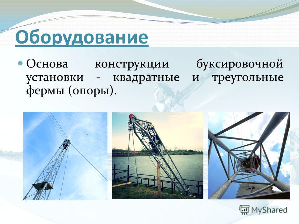 Оборудование Основа конструкции буксировочной установки - квадратные и треугольные фермы (опоры).