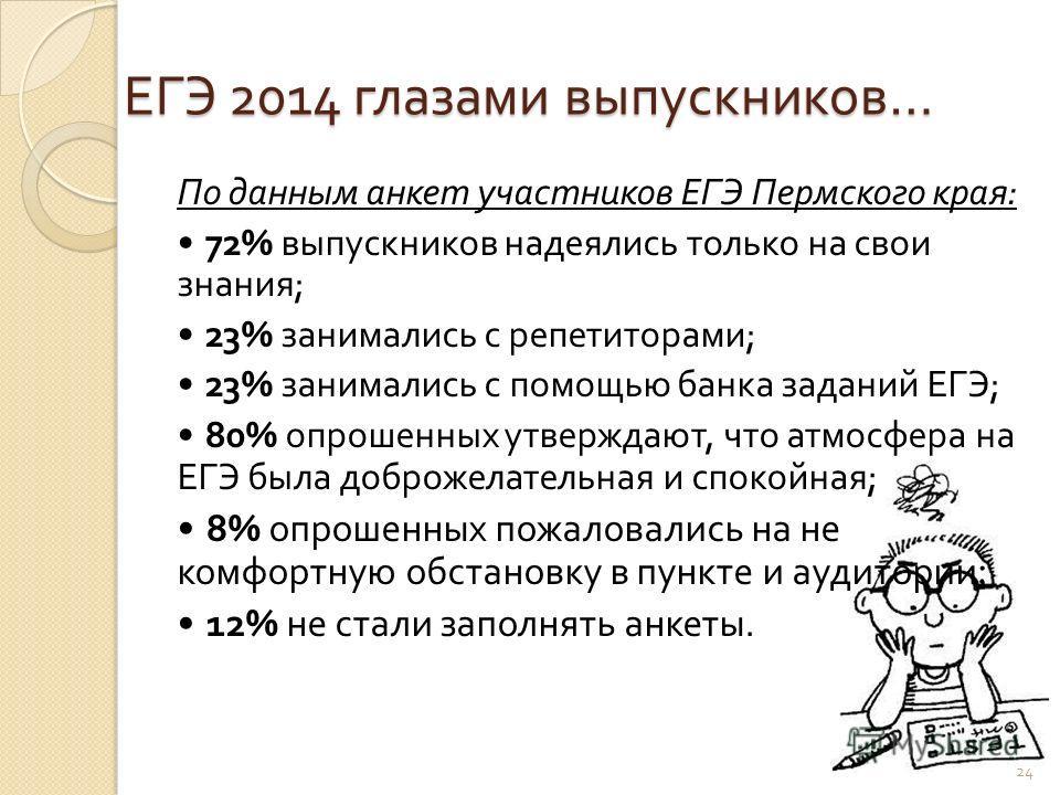 ЕГЭ 2014 глазами выпускников … По данным анкет участников ЕГЭ Пермского края : 72% выпускников надеялись только на свои знания ; 23% занимались с репетиторами ; 23% занимались с помощью банка заданий ЕГЭ ; 80% опрошенных утверждают, что атмосфера на