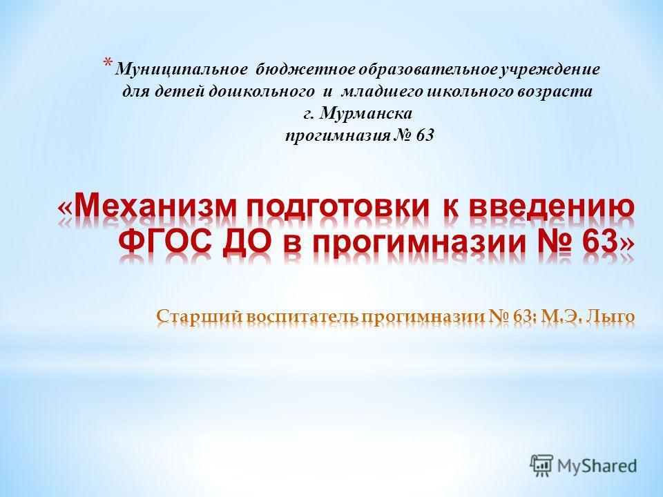 * Муниципальное бюджетное образовательное учреждение для детей дошкольного и младшего школьного возраста г. Мурманска прогимназия 63