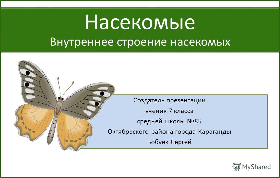 Создатель презентации ученик 7 класса средней школы 85 Октябрьского района города Караганды Бобуёк Сергей