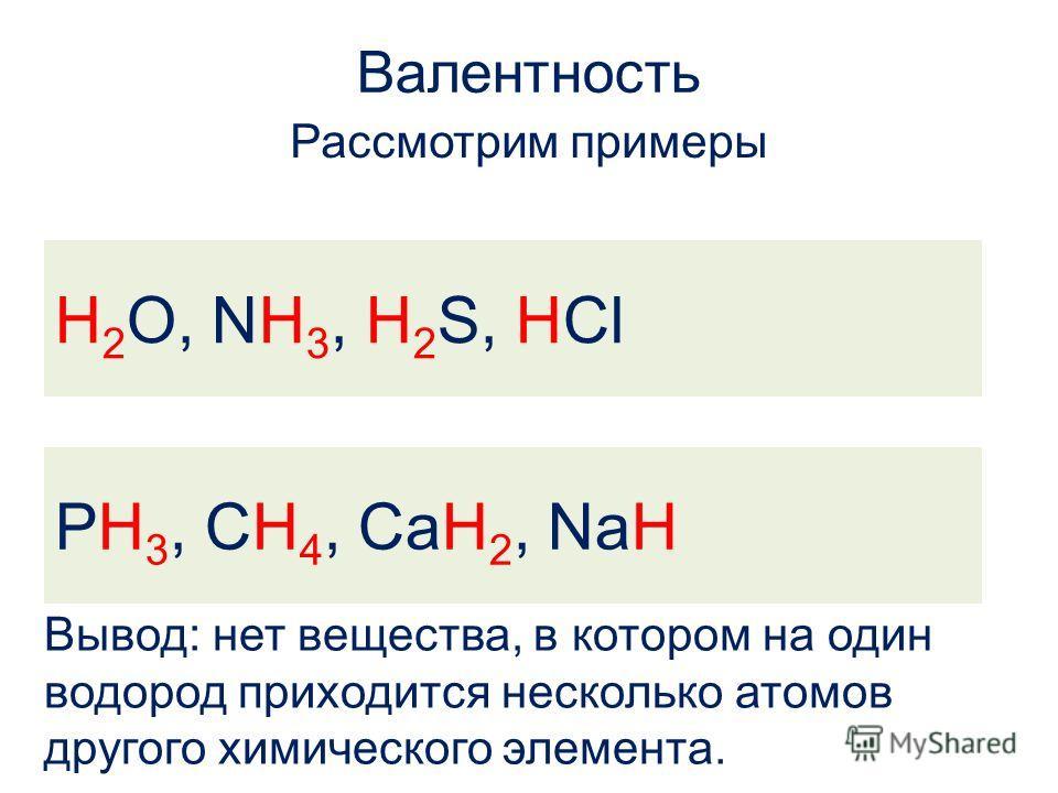 Валентность Рассмотрим примеры H 2 O, NH 3, H 2 S, HCl PH 3, CH 4, CaH 2, NaH H 2 O, NH 3, H 2 S, HCl PH 3, CH 4, CaH 2, NaH Вывод: нет вещества, в котором на один водород приходится несколько атомов другого химического элемента.