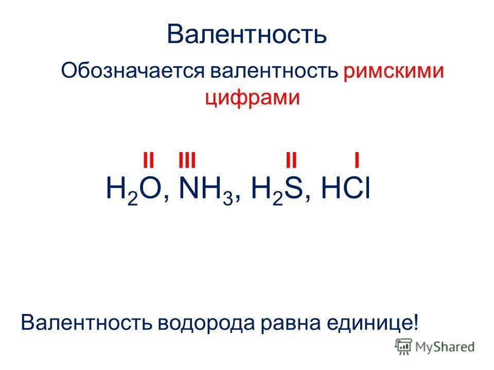 Валентность Обозначается валентность римскими цифрами Валентность водорода равна единице! H 2 O, NH 3, H 2 S, HCl IIIIIIII