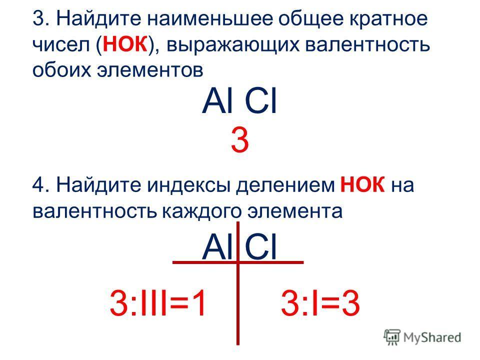 3. Найдите наименьшее общее кратное чисел (НОК), выражающих валентность обоих элементов Al Cl 4. Найдите индексы делением НОК на валентность каждого элемента Al Cl 3 3:III=13:I=3