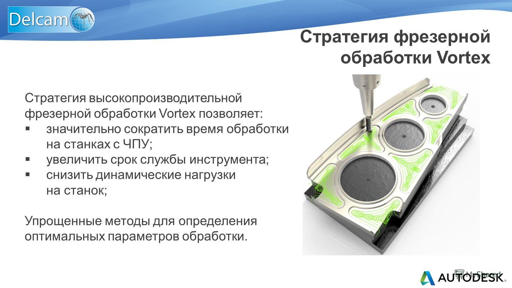 Стратегия высокопроизводительной фрезерной обработки Vortex позволяет: значительно сократить время обработки на станках с ЧПУ; увеличить срок службы инструмента; снизить динамические нагрузки на станок; Упрощенные методы для определения оптимальных п