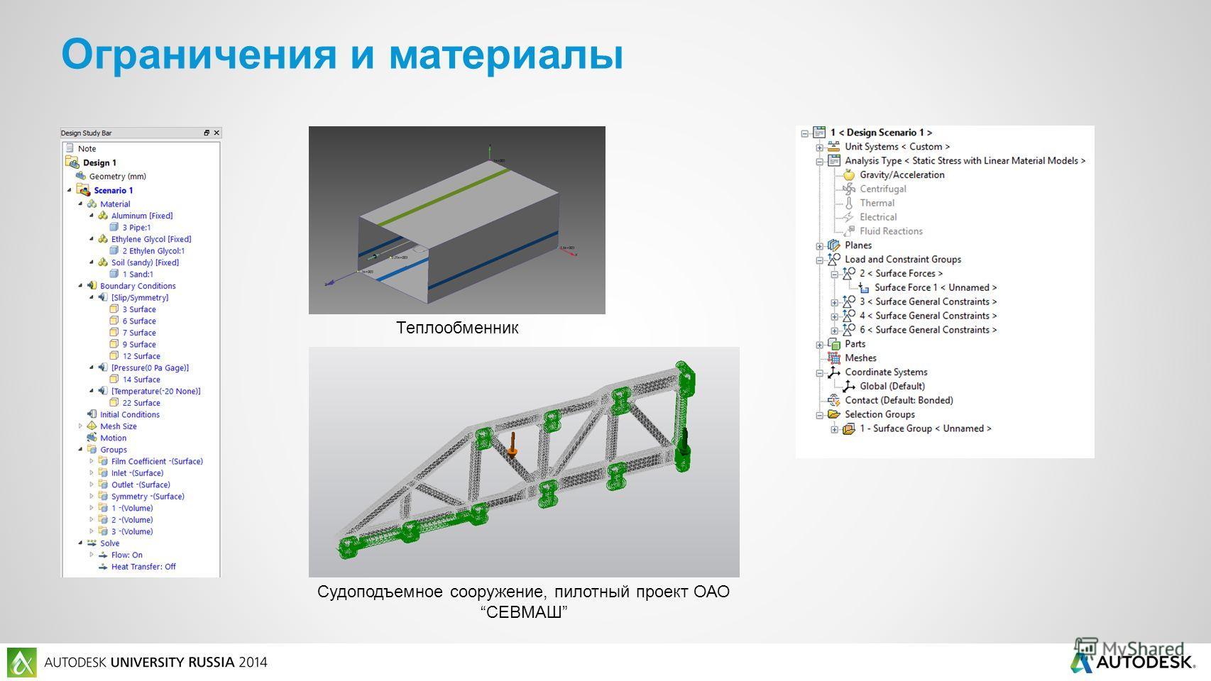 Ограничения и материалы Теплообменник Судоподъемное сооружение, пилотный проект ОАОСЕВМАШ