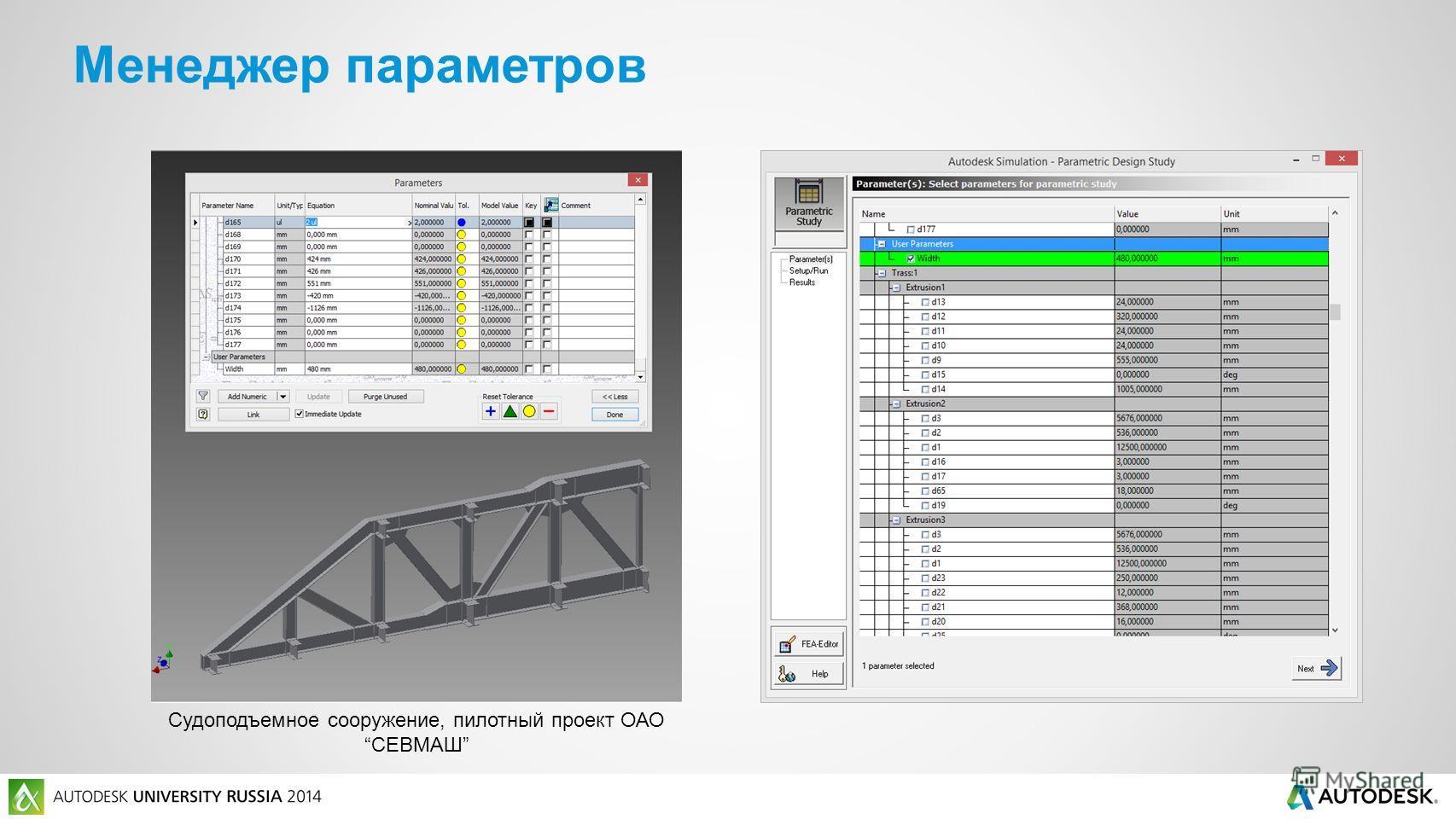 Менеджер параметров Судоподъемное сооружение, пилотный проект ОАОСЕВМАШ
