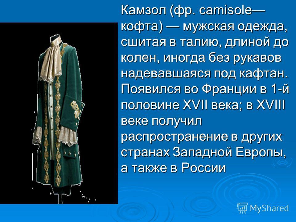 Камзол (фр. camisole кофта) мужская одежда, сшитая в талию, длиной до колен, иногда без рукавов надевавшаяся под кафтан. Появился во Франции в 1-й половине XVII века; в XVIII веке получил распространение в других странах Западной Европы, а также в Ро