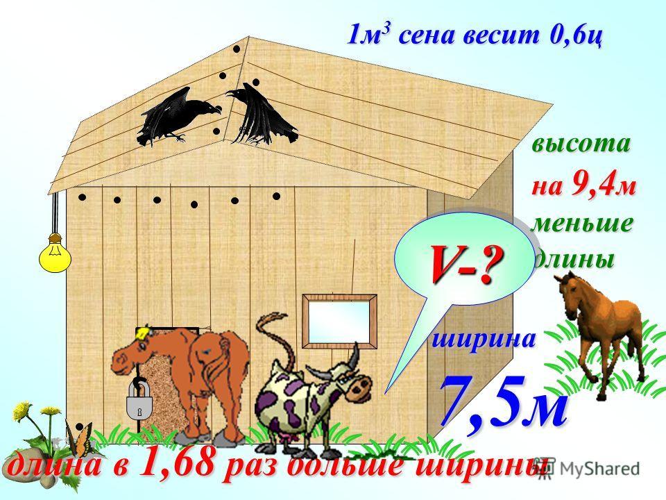 1 м 3 сена весит 0,6 ц ширина 7,5 м длина в 1,68 раз больше ширины высота на 9,4 м меньшедлины V-?